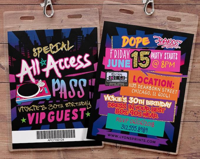 Hip Hop, Swagger, VIP PASS, backstage pass, Vip invitation, birthday invitation, pop star, lanyard, Graffiti, birthday, DJ, 90's party