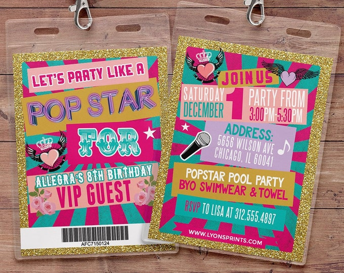 Retro, neon, VIP PASS, backstage pass, Vip invitation, birthday invitation, pop star, Rock Star birthday, Digital files