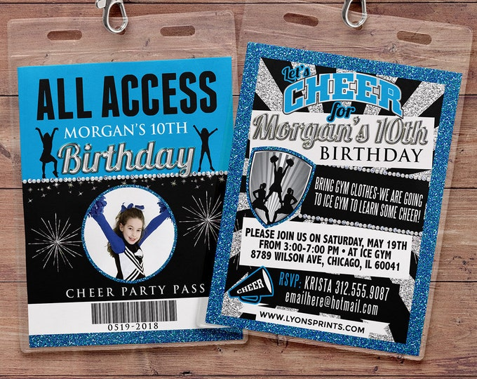 Cheerleading invitation, VIP PASS, Cheerleading, Cheerleading birthday, backstage pass, birthday invitation, glitter, pom pom, cheer