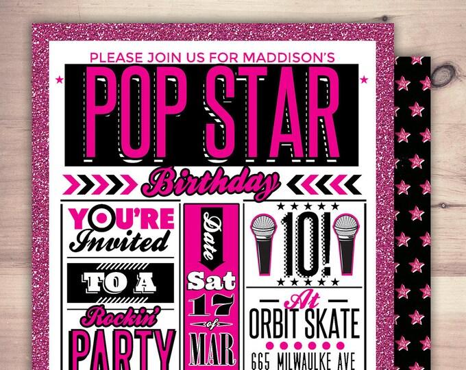 Rock Star invitation, pop star invitation, baby shower, rock star party, pop star, rock star theme, karaoke party, digital files