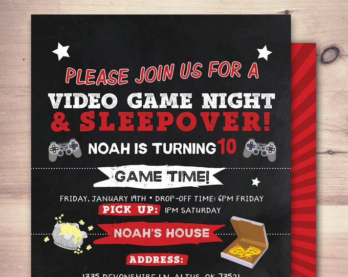 Sleepover party invitation / boy birthday invitations / sleepover invitation / super hero invitation / comic invitation / XBOX, video game