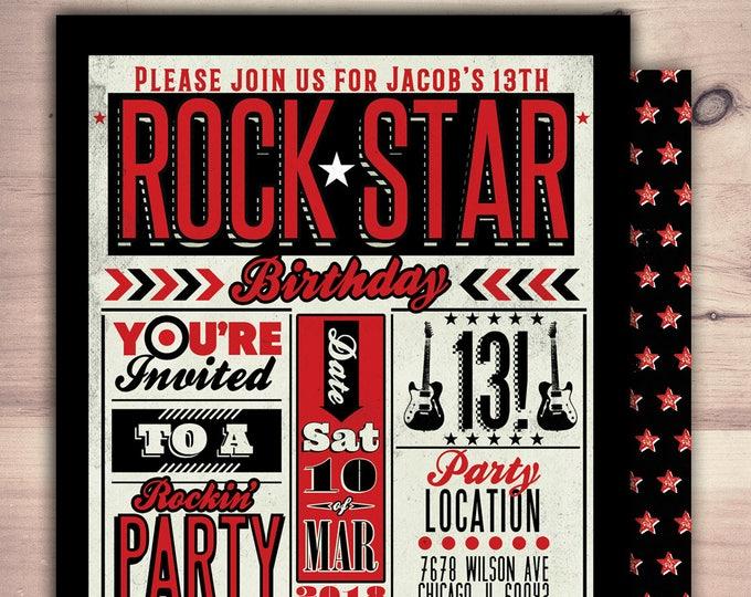 Rock Star invitation, pop star invitation, rock star party, pop star, rock star theme, karaoke party, music invitation,  digital files