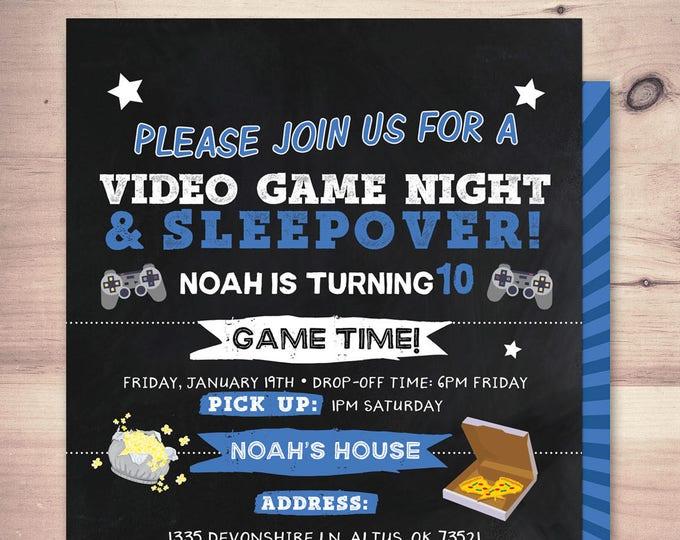 Sleepover party invitation / boy birthday invitations / sleepover invitation / super hero invitation / comic invitation /video game