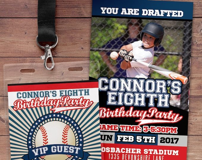 Baseball ticket Invitation, All Star Birthday, VIP pass, Baseball Party, sports birthday, ticket invite, Bar Mitzvah, lil slugger, Digital
