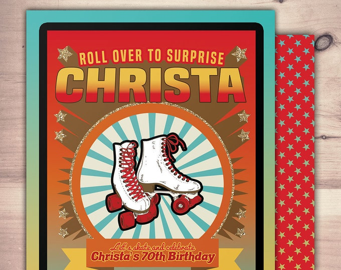 Vintage, roller skating, birthday invitation, Retro, neon,  pop star, roller-skate party VIP, 80's, 70's, 60's, retro