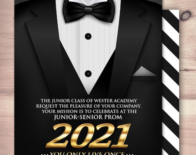 Tuxedo prom invite, secret agent, detective invite, school dance invite, black tie, homecoming invitation