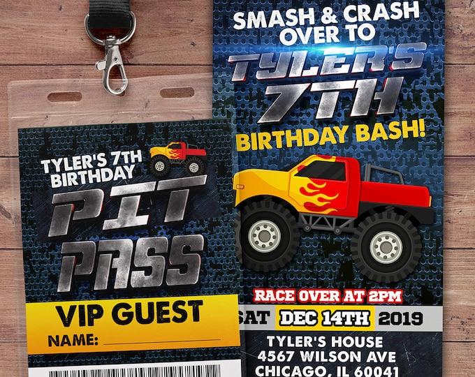 Monster Truck Birthday Party Invitation - Monster Truck Invitation- Smash and Crash Birthday Invitation-truck birthday invite