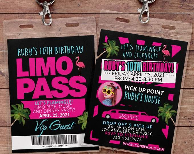 VIP PASS, Limo pass, Birthday party, Flamingle, backstage pass, cocktail party, birthday invitation, wedding, bachelor, party bus