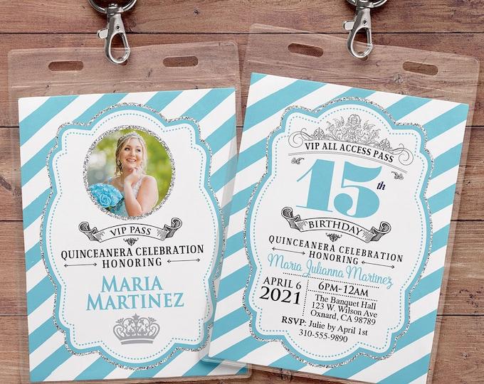 ANY AGE, Princess Invitations - Princess Birthday Party Invitations, first birthday, 1st birthday, VIP pass, Quinceanera, sweet 16, 15th