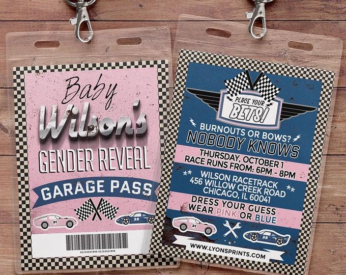 Gender reveal invitation, Retro Race Car Invitation, Pitt Pass, Vintage Race Car Invite, Race Car Birthday, VIP pass, baby shower