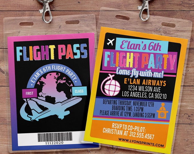 Flying, VIP Pass, flight pass, invitation, birthday invitation, travel party travel party, flying party, airplane, vintage, Neon party
