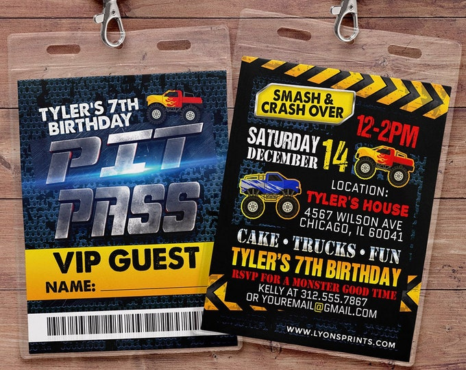 Monster Truck Birthday Party Invitation - Monster Truck Invitation- Smash and Crash Birthday Invitation-truck birthday invite