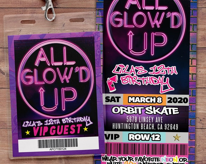 All Glow'd Up Glow Party Birthday Invitation, Glow In the Dark Party Invite, Neon Glow Party Invite, Glow Party, neon birthday, neon party