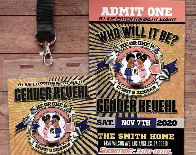 Gender Reveal Party Invitation, Boxing Gender Reveal, Boy or Girl, Gender Reveal Knockout, Invitation, Boxing invitation, Knock out