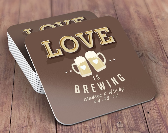 Digital logo file,  LOVE is brewing, Coed wedding shower invitation- Beer- couples shower  -  BBQ, party, bridal shower, wedding, coaster