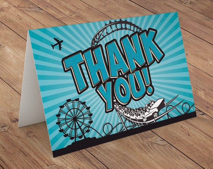 Thank you card, Amusement Park party, super hero birthday, rollercoaster, party decor, greeting card, comic party
