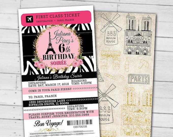PASSPORT and TICKET birthday invitation! Girl's birthday party- travel birthday party invitation- Paris, Eiffel tower, Digital files only
