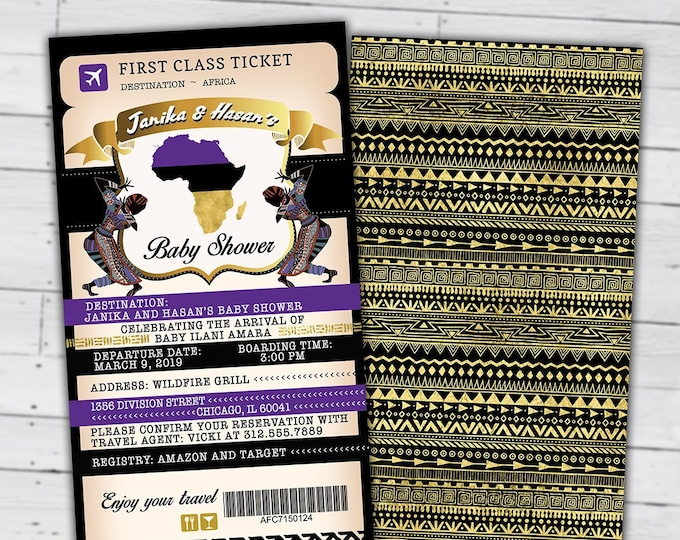 African passport, Ticket baby shower invitation, Birthday invitation,Africa Passport, African Birthday,African Birthday, Digital files Only