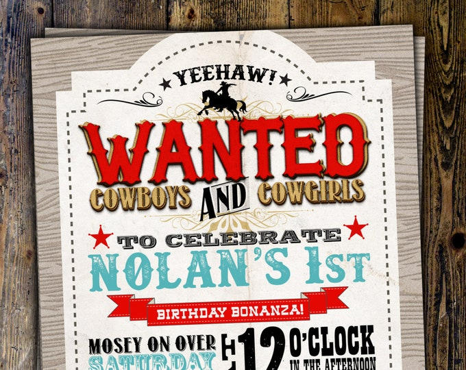 Vintage Cowboy Invitation, boy birthday, cowgirl, rodeo, western invitation, wanted poster, rodeo poster, cowgirl, horse, Digital File
