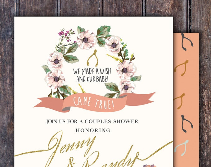 BOHO, wishbone, couples shower, Baby Shower Invitation, floral, co-ed shower, flowers, baby, co-ed baby shower, baby girl shower, tribal