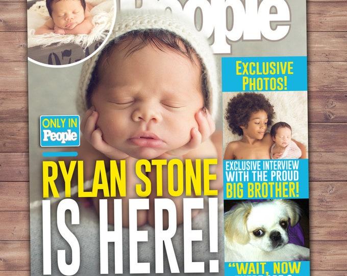 MAGAZINE cover birth announcement, pregnancy announcement, baby announcement, wedding, gift, special event, retirement