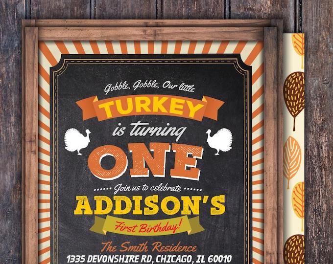 Turkey Thanksgiving Birthday Invitation Printable, Pumpkin birthday invitation -  Thanksgiving, Fall birthday, Gobble Gobble, Turkey