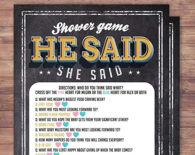 He said she said baby shower game, Baby is brewing, Coed baby shower, baby wishes card- Beer baby shower- couples baby shower