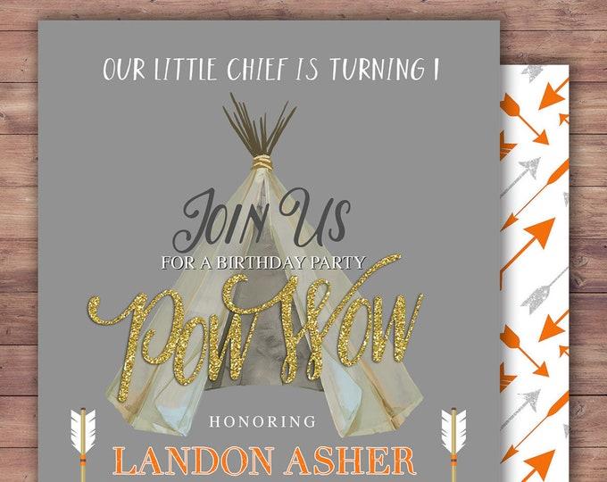 Wild one, TEEPEE Birthday Invitation, invitation, Aztec, arrow, pow wow, BOHO, Tribal, first birthday, 1st birthday, Gold