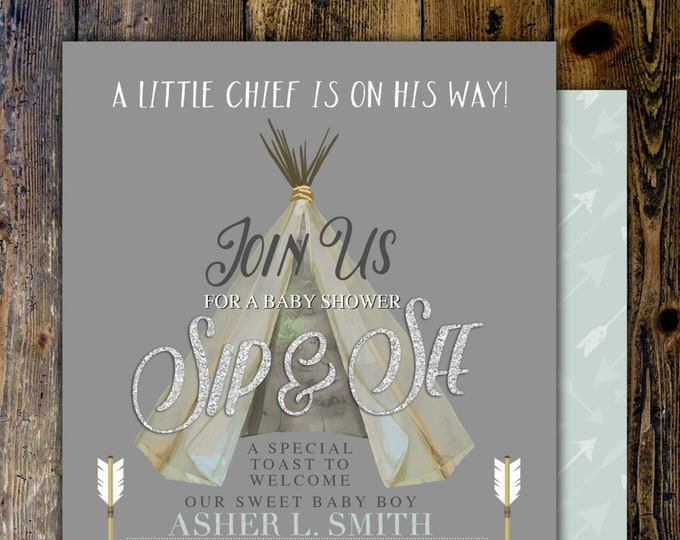 TEEPEE Baby Shower Invitation, Indian Baby shower Invite, aztec baby shower invite,boy, invitation, Aztec, arrow, pow wow, BOHO, sip and see