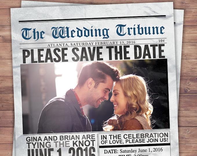 Newspaper save the date, wedding Invite/Bridal Shower INVITATION,  bridal shower invitation, wedding invitation, vintage, unique