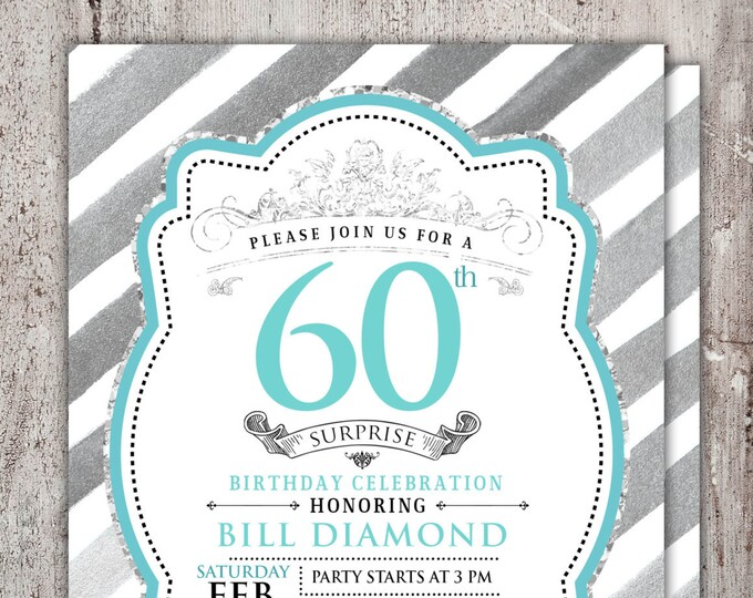 ANY AGE 21st, 30th, 40th, 50th, 60th, 70th, 80th, 90th Surprise Birthday Party Invitation,birthday, invite, glitter, foil, surprise party