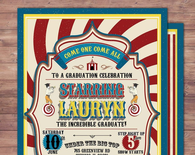 CIRCUS graduation Invitation- Carnival invitation-prom- graduation party invitation-school dance invitation, prom invitation, Digital files