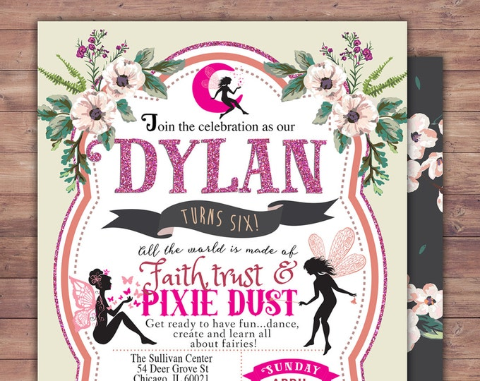 Fairy Birthday Invitation // neverland Invitation // Watercolor Floral // Baby Shower // Vintage Floral Background // Pixie invitation //1st