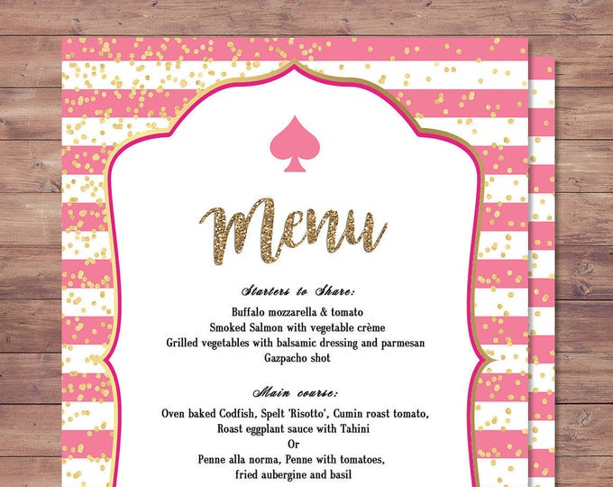 Spade party, menu,  bridal shower, brunch, decor, sweet 16, birthday, wedding, baby shower, couples shower, pink, glitter, Spade