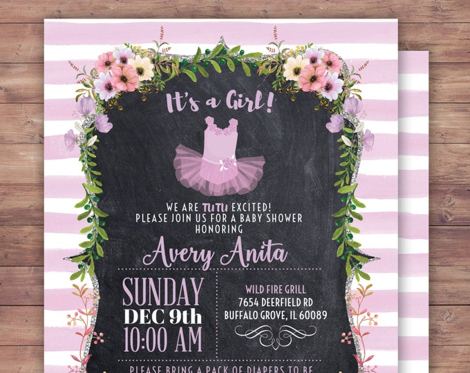 Baby girl shower invitation. Tutu, chalkboard, French, black white stripes, gold glitter, purple tutu invite,  tutu birthday