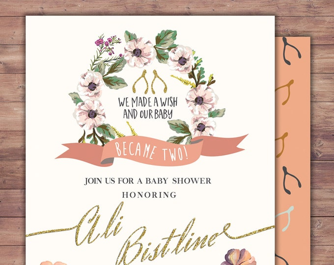 BOHO, wishbone, Twins, couples shower, Baby Shower Invitation, floral, co-ed shower, flowers, baby, co-ed baby shower, baby girl shower,