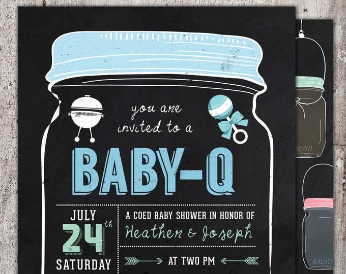 BABY Q Invitation - BabyQ Baby Shower Invitation - Backyard BBQ Invite - Coed Baby Shower Invite - Digital File - Printable