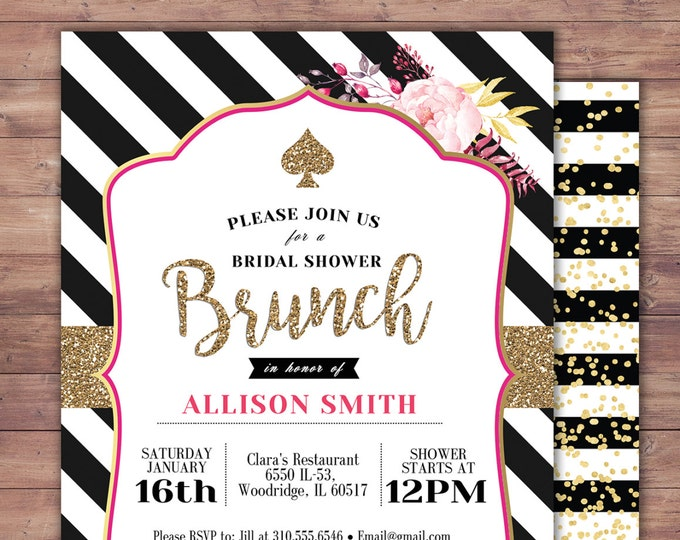 Spade, invitation,  bridal shower invitation, brunch, invite, sweet 16, birthday invitation, wedding, baby shower, couples shower