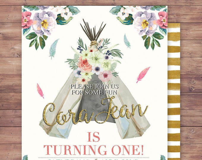 TEEPEE Birthday Invitation, Aztec birthday Invite, invitation, Aztec, arrow, pow wow, BOHO, Tribal, first birthday, 1st birthday, Gold
