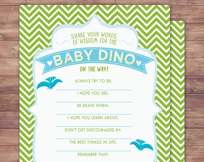 Advice card, Dinosaur, baby shower, dino baby, chevron pattern, hatching, baby shower decor, baby dinosaur, coed baby shower