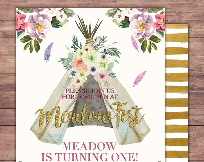 Teepee Birthday Invitation, ticket invitation, pow wow, BOHO, Tribal, first birthday, 1st birthday, Gold glitter, music festival, Rock Star