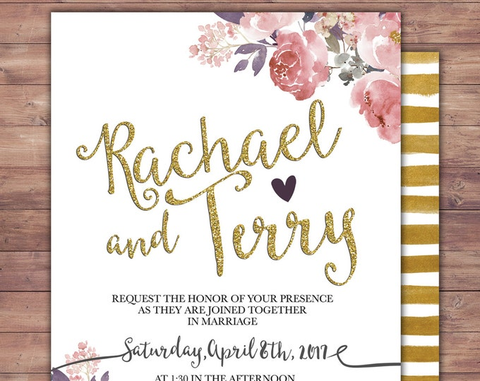 BOHO, Wedding Invitation Printable, Floral,Wedding Invitation Suite, RSVP, monogram, info card, hand lettered typography theme.