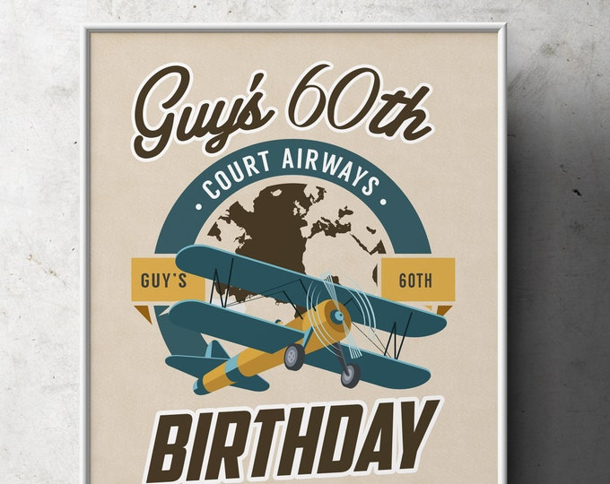 Digital file, Party sign, Vintage Airplane, birthday, Vintage, Airplane, Birthday Party, party decor, Time flies