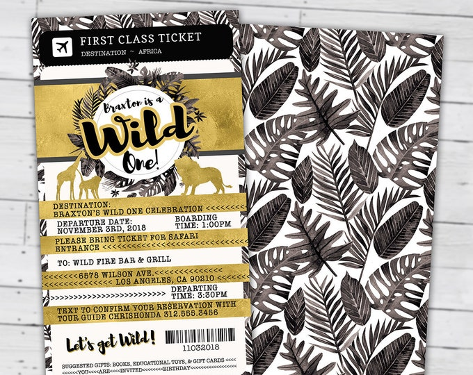 Passport invitation, Jungle Invitation, Jungle invite, Safari invitation, Safari Invite, Watercolors, Wild One, Elephant, Lion, Wild thing