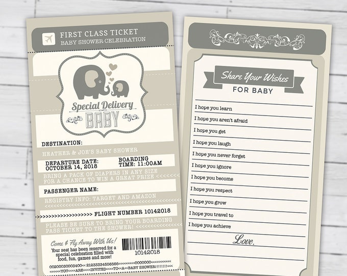 PASSPORT and TICKET baby shower invitation, Coed baby shower invitation- precious cargo baby shower couples baby shower, Digital files only
