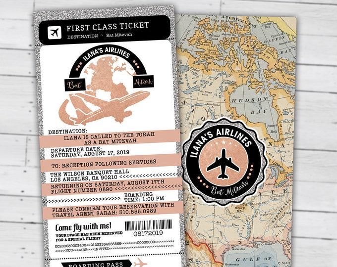 PASSPORT and TICKET birthday invitation, Bat Mitzvah invitation, retirement party, Sweet 16 travel, Digital files only