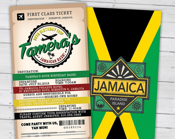 PASSPORT and TICKET birthday invitation, travel birthday party invitation, cruise invitation, Jamaica, Digital files only