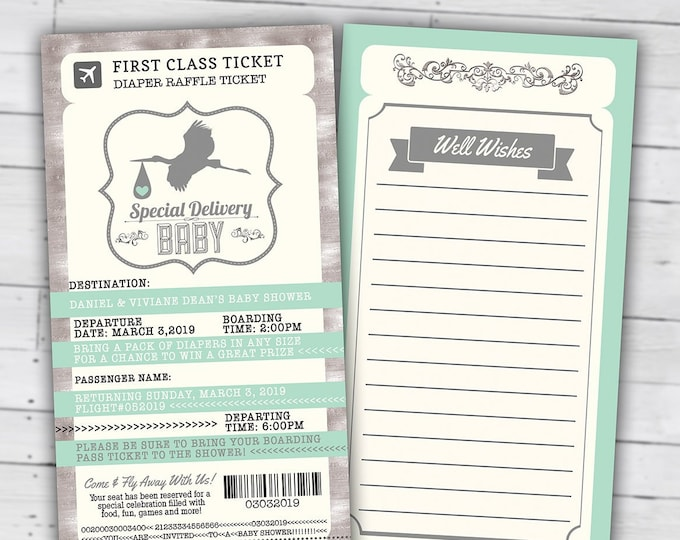 PASSPORT and TICKET baby shower invitation, Coed baby shower invitation- travel baby shower invitation- couples baby shower