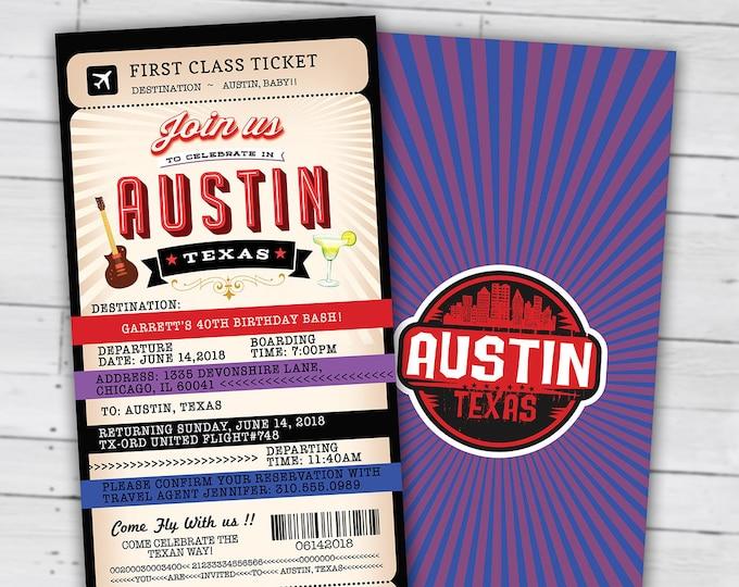 PASSPORT and TICKET birthday invitation, travel birthday party invitation, Austin, Texas, Lone star, Digital files only, Texas theme
