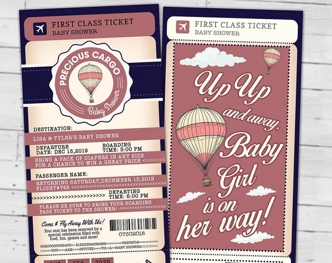 Precious Cargo Passport and ticket baby shower invitation, Coed baby shower invitation- travel baby shower invitation- Digital files only